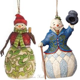 "Set van 2 Jim Shore Hanging Ornament H13cm ""Red Green""& ""Victorian Snowman"""