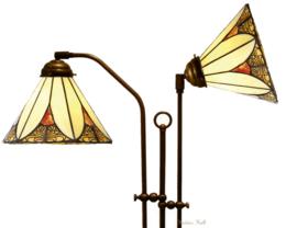KT21 Vloerlamp Verstelbaar met 2 Tiffany kappen Ø26cm Sunset
