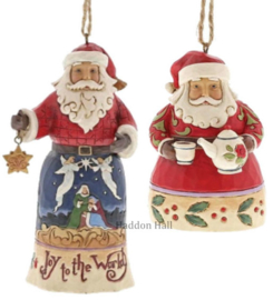 Set van 2 Hanging ornament  Joy to the World - Santa with Teapot - Jim Shore