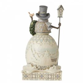 White Woodland Snowman  Joyful Are Winter Days H24cm Jim Shore 6006577