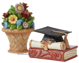 Mini Flower Bouquet & Mini Graduation Cap H5cm - Set van 2 - Jim Shore