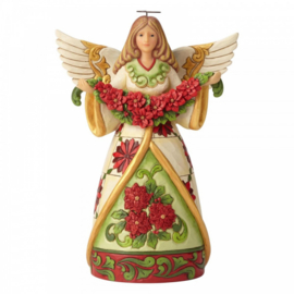 Winter Beauty In Bloom H24cm Angel with Poinsettia Garland - Jim Shore 6002902