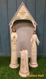 White Woodland Kerststal + Heilige Familie H53cm Jim Shore 6004200