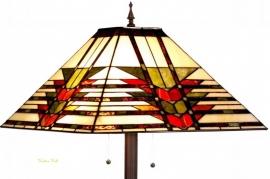 5724 9456  Vloerlamp H155cm met Tiffany kap 47x47cm Midway  Bruine voet