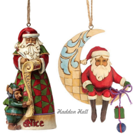"Set van 2 Hanging ornament ""Santa Naughty & Nice""-""Crescent Moon Santa"""
