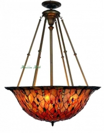 5319 Super grote Tiffany hanglamp Ø92cm Flame Dragonfly oranjerode libelle