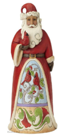 Santa Holding Cardinal Statue H 50cm! Jim Shore 6001467 Kerstman Heartwood Creek