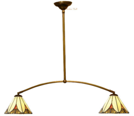 KT21 Hanglamp met 2 Tiffany kappen Ø26cm Sunset