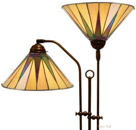 68440 Vloerlamp met 2 Tiffany kappen Ø30cm Dark Star