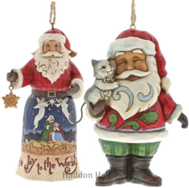 Set van 2 Hanging ornament Jot to the World - Santa wit Cat Jim Shore