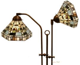 1150 Vloerlamp Haaks met 2 Tiffany kappen Ø25cm Art Deco Green