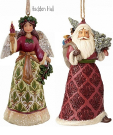 "Set van Hanging Ornament ""Victorian Angel""& ""Victorian Santa"" H12,5cm Jim Shore"