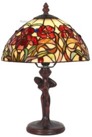 YT19 Tafellamp Jugendstil Dame H35cm met Tiffany kap Ø25cm Red Orchid