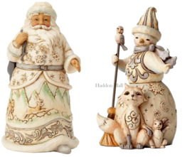 Set van 2 Jim Shore White Woodland Figurines H14cm Santa & Snowman