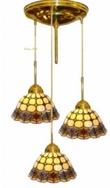 Hanglamp messing P147 met 3 Tiffany kappen Ø25cm