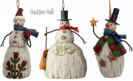 """Folklore Snowmen"" H11cm Set van 3 Hanging Ornament Jim Shore"