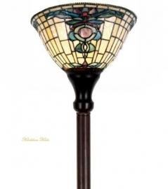 9004 Vloerlamp H175cm met Tiffany kap Ø26cm Blue-Oyster