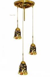 Hanglamp messing P147 met 3 Tiffany kapjes Ø12cm