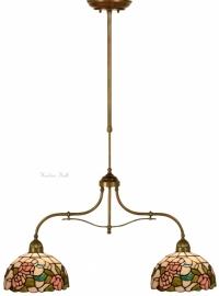 9282 700 Hanglamp B75cm met 2 Tiffany kappen Ø25 Alba
