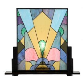 7872 Voorzetraam Tiffany op voet H57cm B64,5cm Coloured Art Deco