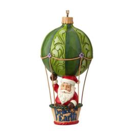 Set van 2 Hanging ornament Wonderland Gnome - Santa in Air Balloon - Jim Shore