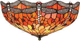T077L 80 Plafonniere Tiffany Ø50cm Flame Dragonfly