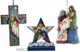 """Holy Family Mini Star"" + 2 Nativity hanging ornament Jim Shore"