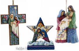 """""""Holy Family Mini Star"""" + 2 Nativity hanging ornament Jim Shore"""