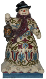 """Victorian Snowman with Lantern"" H22cm Jim Shore 6001428"