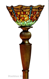 8827 Vloerlamp Uplight  H179cm met Tiffany kap Ø25cm Red Green Dragonfly