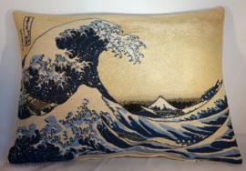"Katsushika Hokusai - Kussen 36x48cm Gobelin Geweven ""Wave"""