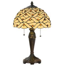 5181 Tafellamp Tiffany H51cm Ø30cm Woven Pearl