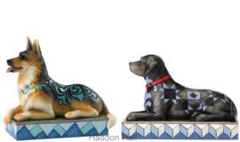 "Set van 2 Honden ""Kaiser & Onyx"" B14cm Jim Shore"