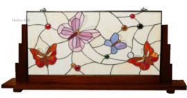 5866 Voorzetraam Tiffany op voet H49cm B108cm Butterfly Pink