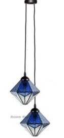 8113 Hanglamp Textielsnoer met 2 Tiffany kappen Ø20cm Akira Blue