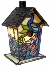970 Tiffany lamp H20cm Vogelhuisje  Pauw