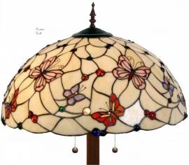 5382 9454  Vloerlamp Tiffany  Ø50cm  Pink Butterfly Ronde voet