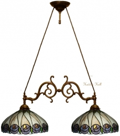 """T049M Hanglamp met 2 Mackintosh kappen Ø40cm """"Hutchinson"""" motief"""