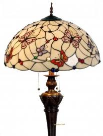5382 9459 Vloerlamp met Tiffany kap Ø50cm  Pink Butterfly Bolling in de voet