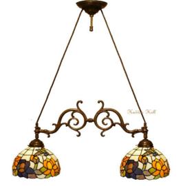 CT215 Hanglamp met 2 Tiffany kappen Ø25cm Kolibrie