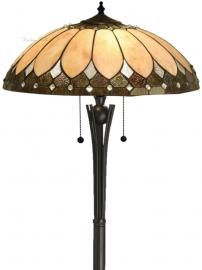 T048L Vloerlamp Zwart H158cm met Tiffany kap Ø50cm Brooklyn