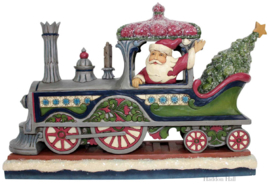 """Victorian Santa in Train"" H18cm Jim Shore 6001427 Kerstman Heartwood Creek"