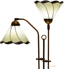 5704 Vloerlamp met 2 Tiffany kappen Ø25cm Desertwave