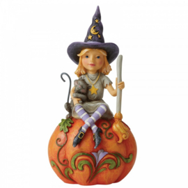 Frequent Flyer - Witch Sitting on Pumpkin Pint-Sized - H16,5cm Jim Shore 6006702