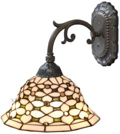 505 Wandlamp Grijs met Tiffany kap Ø26cm Jewel