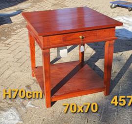 Bijzettafel H70cm 70x70cm met onderblad - Massief Teakhout