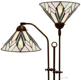 T026S Vloerlamp met 2 Tiffany kappen Ø30cm Astoria