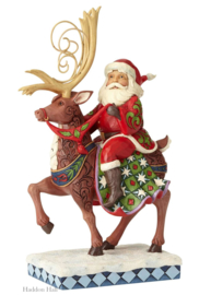 """Santa Riding Reindeer"" H27cm Jim Shore 6001471 Kerstman Heartwood Creek"