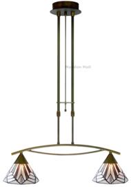 5899 Hanglamp Dimbaar B75cm met 2 Tiffany kappen Ø25cm Astoria Brown