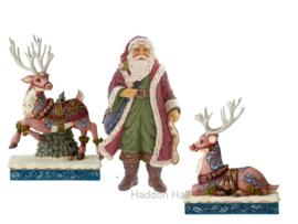 Victorian Santa & 2 Reindeer Set van 3 Jim Shore beelden